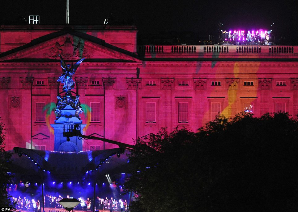 Musical treat: This stunning picture shows Madness performing on the roof of Buckingham Palace