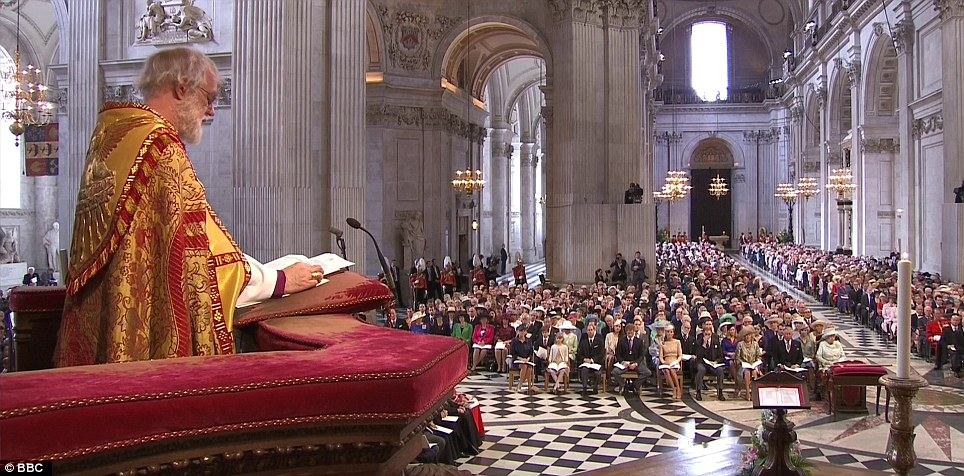 Dr Rowan Williams, the Archbishop of Canterbury reads from the pulpit during the hour-long service