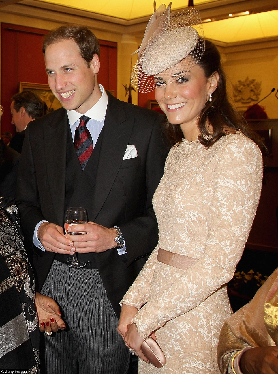 The Duchess in Inspired Champagne Long Sleeve Floral Lace Scalloped Hem-Dress