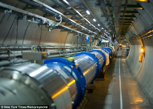 Big enough to matter: The collider, formed of superconducting magnets, stretches around 17miles or 27km - and is sensitive to the moon's gravity