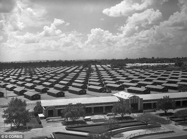 Contained: Because Los Angelese had one of the largest Japanese American populations, the large space of the horse racing track was used to house them all