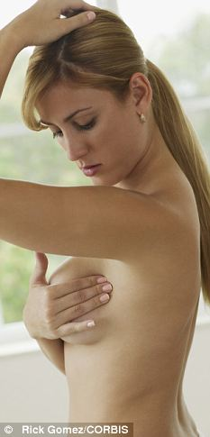 A woman conducts a breast exam: Deaths among the women were predominantly caused by breast cancer