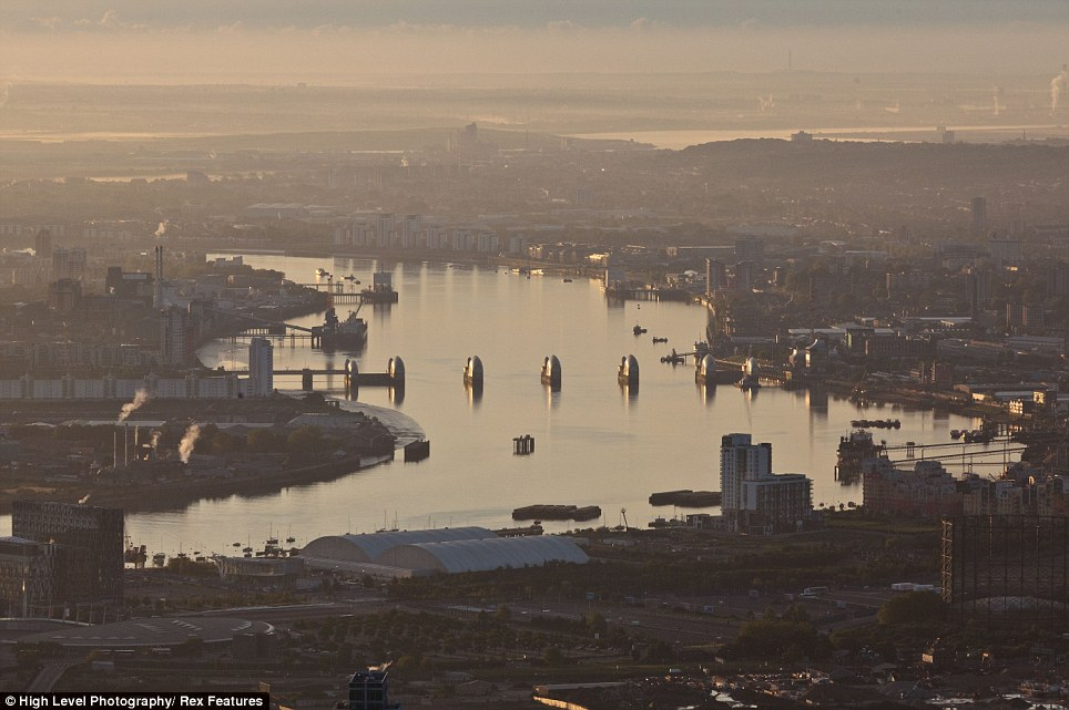 This beautiful aerial view of The Thames Barrier at dawn was part of a series of photographs taken from a helicopter. The shots show off the stunning breadth of landscapes within the city which are often left unappreciated on the ground