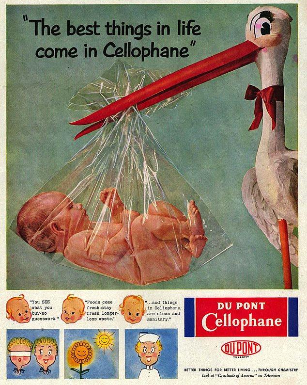 Bizarro: día Esta es una de las muchas imágenes inexplicables utilizados por DuPont para anunciar el celofán en el pasado