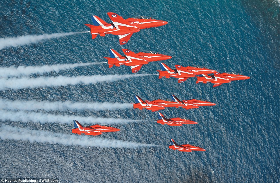 Ruling the waves: The world-famous display team, pictured in action over the water, was formed 47 years ago