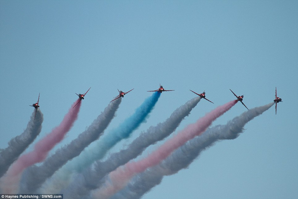 Spectacle: A seven-plane formation charges forth, leaving behind the colours of the Union flag