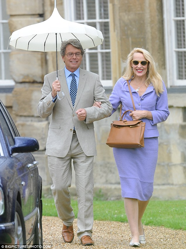Lovely in lilac: Jades former stepmother Jerry Hall was seen arriving in style
