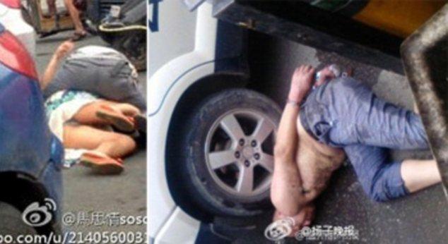 Ataque: Un hombre llamado Dong fue visto roer en la cara de una mujer (a la izquierda), pero fue arrestado más tarde (a la derecha)