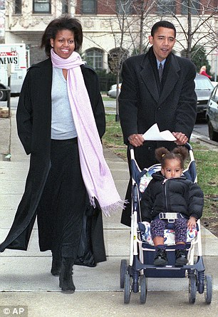 The beginning: Malia, 18 months, in Chicago on primary day, March 21, 2000 with her parents