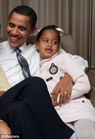 Six going on 16: Malia at age six with Barack Obama in November 2, 2004, in the first Senate race with two African American candidates