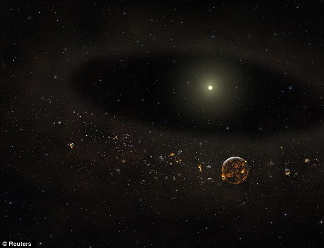 An impression of how the star appears to scientists now, with the dust gone and asteroids and planets remaining