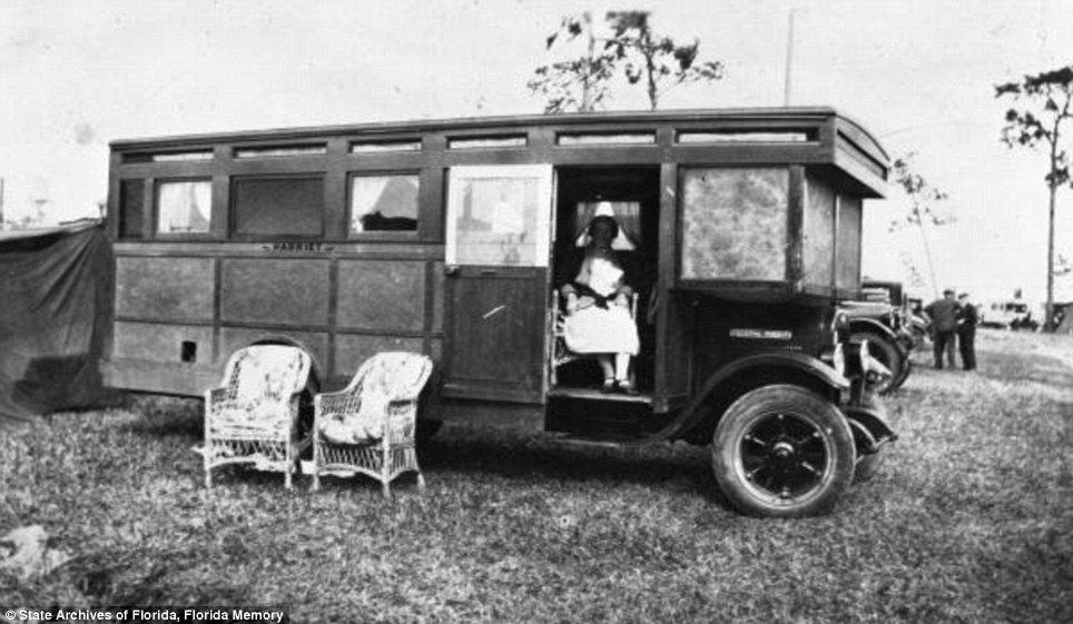 Luxurious: Tourists from Vermont sit in a house car in Arcadia in 1929. The new roads allowed newly-mobile northerners to explore the communities in the South
