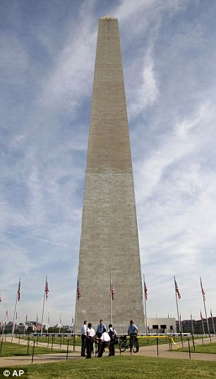 Back to the past: In 1999 (left), the Washington Monument underwent refurbishment and will have a similar scaffolding structure now that repairs must be made (right)