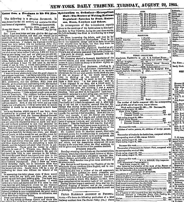 The original: Jordon Anderson's letter was dictated and published in the New York Daily Tribune in 1865