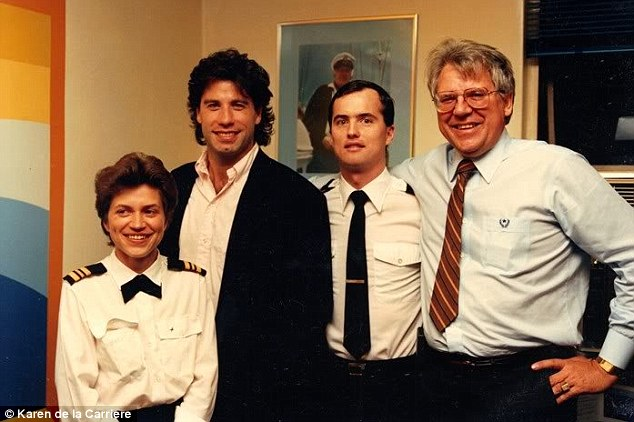 Famous friends: Heber Jentzsch, far right, pictured with actor John Travolta, second from left in this undated handout