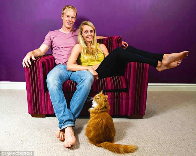The pair together at their home in Loughborough, they have two cats, Banks and Bella