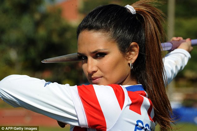 Superstar: Leryn Franco is one of Paraguay's Olympic javelin hopefuls but she is probably better known for her looks. The brunette beauty was a runner-up in Miss Universo Paraguay and has appeared in Sports Illustrated