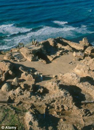 Aerial photograph of the castle of Arsuf