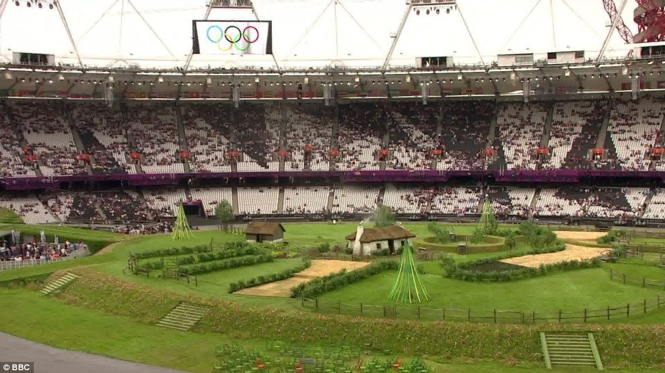 As they enter the stadium, ticketholders are greeted by England's 'Green and Pleasant Land' the starting point of Danny Boyle's Opening Ceremony extravaganza