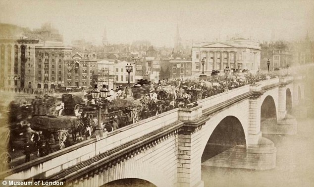 Jam: London Bridge, shown around 1880, is packed with a steady stream of horses and carts