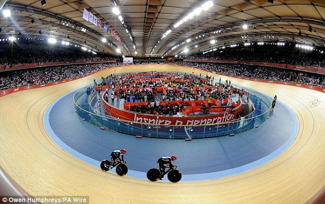 Packed out: Great Britain's riders were roared to victory by a vociferous Velodrome crowd this evening