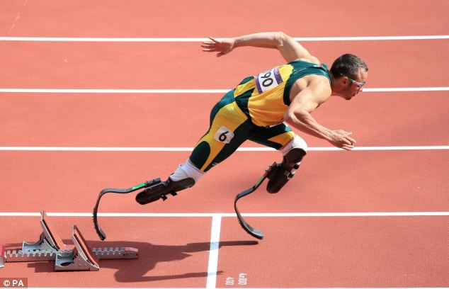 Starting blocks: Pistorius, a four-time Paralympic champion who runs on carbon-fiber blades, circled the oval in 45.44 seconds - good enough for second place in his heat and a berth in the semifinals Sunday night