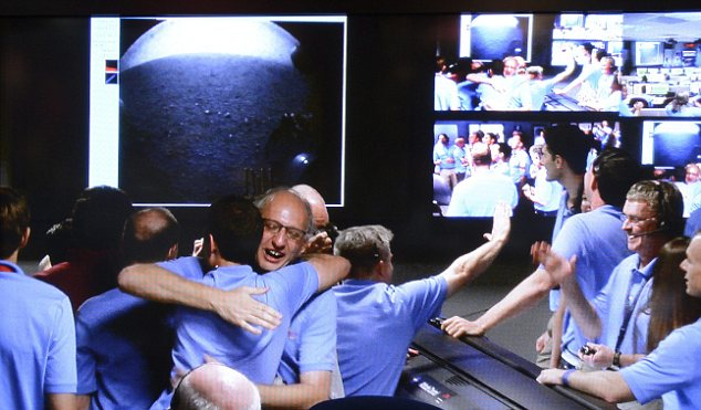Nasa's Pasadena mission control room erupts with cheers as scientists recieve the first images from the Curiosity mars rover
