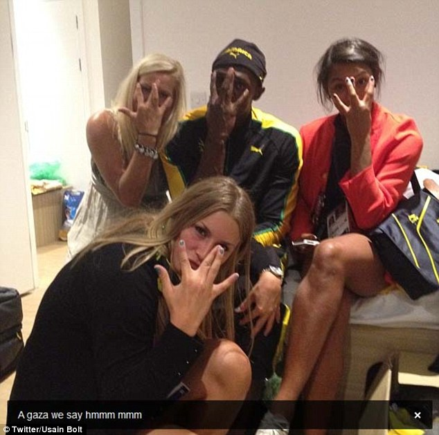 Bolt posted this photograph on Twitter and Instagram early this morning. It shows him posing with three Swedish handball players in the Olympic Village
