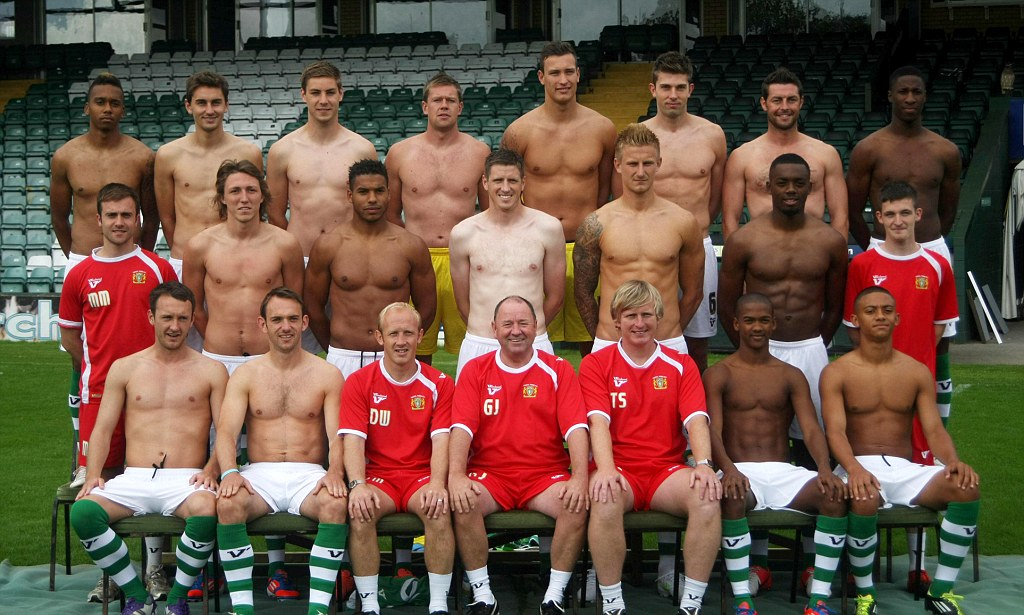 Professional Football Team Pose Topless In Annual