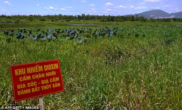 A red warning poster reading 'Dioxin-contominated area. Livestock and poultry raising and fishing are prohibited', is seen at the Ho Sen or Lotus Lake located next to Danang airport