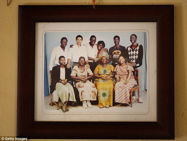 Family portraits showing President Barack Obama (back row 2nd from left) that hang in his family house in Kogelo, western Kenya
