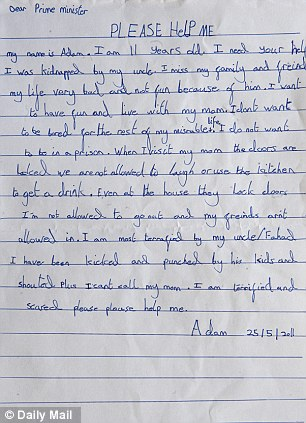 Desperate: The letter written by Adam to David Cameron is pictured