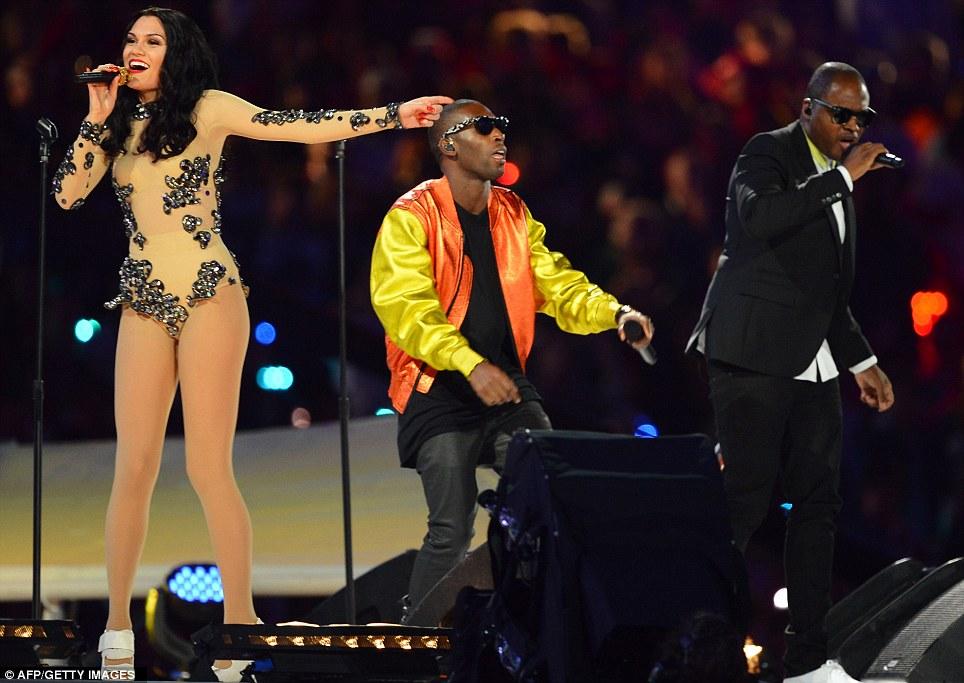Trio: Jessie J, Tinie Tempah and Taio Cruz perform during the closing ceremony