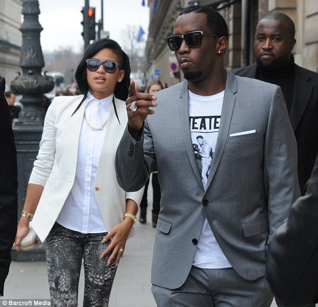 Blinding bling: Cassie wore the ring on March 4 as she strolled around Paris with Combs and a bodyguard