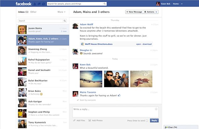 Facebook's new messages service has been completely redesigned, and now resembles an email inbox. It is believed the firm it hoping to lure users away from traditional email with the service.