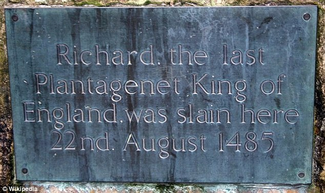 Memorial: The plaque at the place where Richard is believed to have been killed