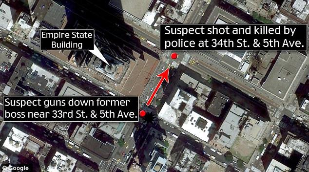 Ruta: El hombre armado corrió una cuadra al norte, pero fue perseguido por un trabajador de la construcción que alertó a la policía