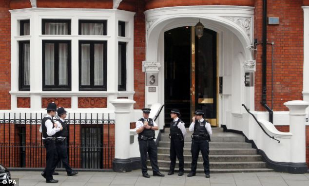 If Assange's case was to go to court after extradition to Sweden upon leaving the Ecuadorian Embassy, pictured, his lawyers will use the photo and evidence of the events that followed the alleged assault in his defence