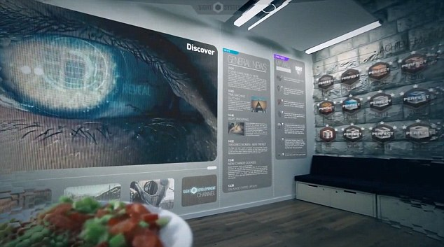 The lenses are able to turn an entire wall into a virtual TV