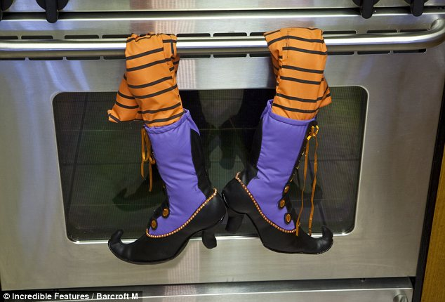 Who needs oven mitts? A pair of shoe legs wraps around the kitchen stove of Ms Flynn's home