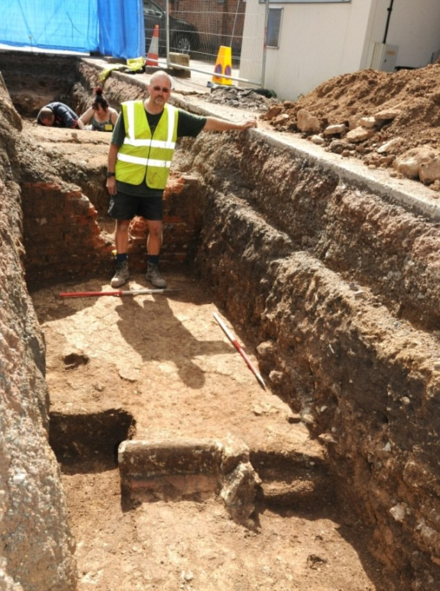 The trench where part of Greyfriars, believed to be the resting place of King Richard III, was found