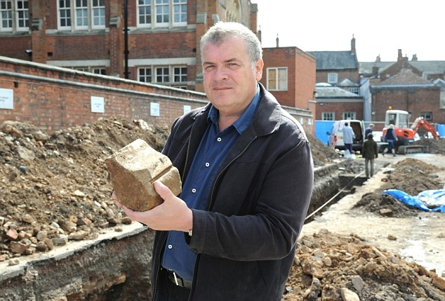 Richard Buckley of the University of Leicester with part of the medieval friary the team hopes will lead them to the body of King Richard III