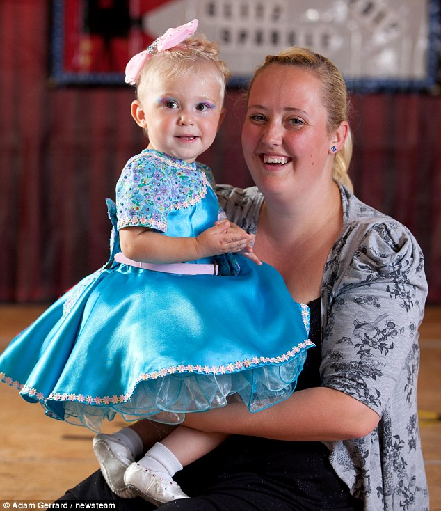 Hollie Young, 20 months with mother Christine Greenhow at the competition