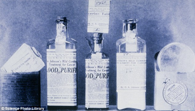 Purely ridiculous: These products from the early 1900s were advertised as a 'blood purifier' to treat cancer
