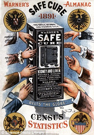 A drug advert from 1891 for a kidney and liver cure from US drug company Warner