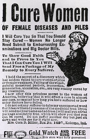An advert from 1912 claiming to offer treatment for female diseases and piles, which consisted mainly of cocoa butter