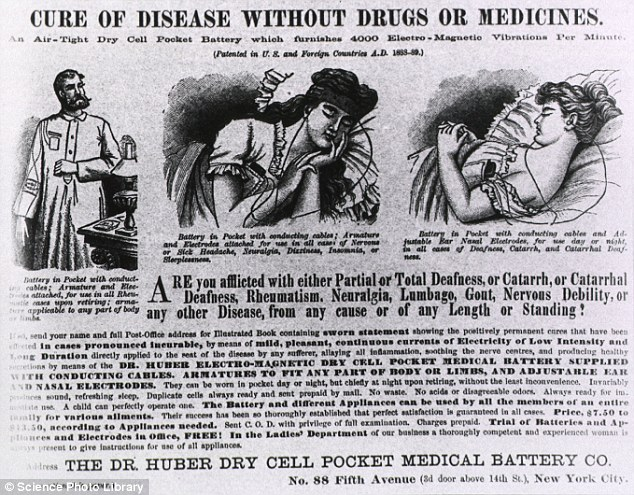 Shock tactics: This advertisement from 1889 shows a product that supplied patients with a continuous current of low intensity electricity for a range of health remedies