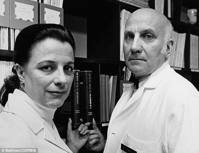 Parents: Masters is the son of renouned sex researcher Dr William H. Masters, right, and Virginia E. Johnson, left, who studied human sexual response, dysfunction and disorders
