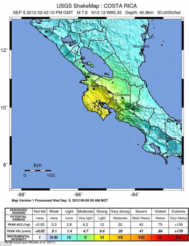 United States Geological Survey map shows the intensity of the earthquake off the coast Costa Rica - a magnitude 7.9 quake