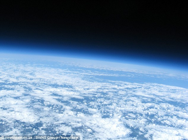 Cheap device: Adam Cudworth managed to capture these incredible views of the earth from space using little more than a balloon and a second-hand £30 camera bought on eBay